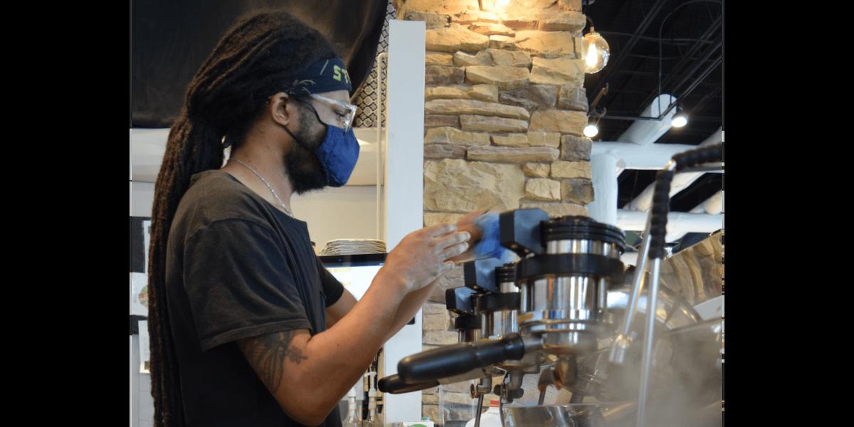 Jalen making drinks at Skinker