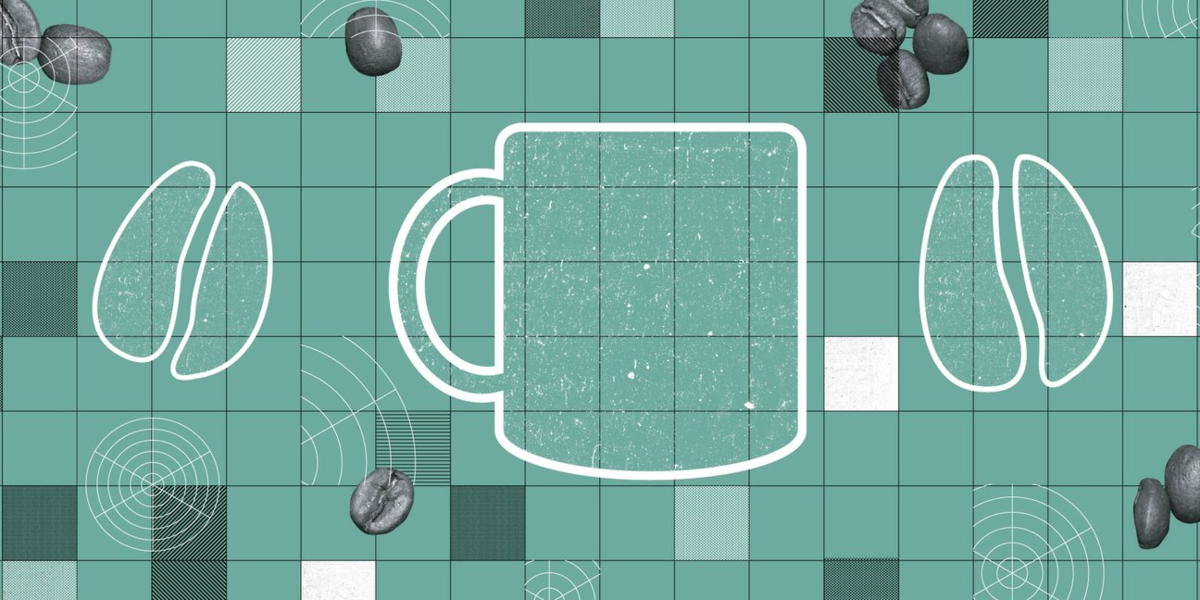 A pattern with a coffee mug and two coffee beans