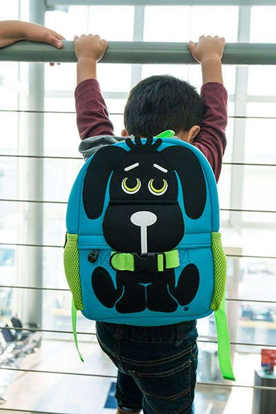 Toddler Backpack, Rocket Dog, Blue, on 3 year old boy