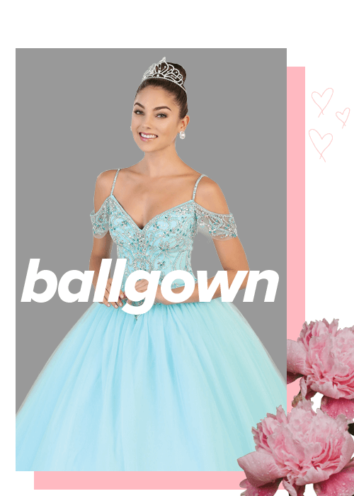 Shop ballgowns for your Quinceanera, Sweet 15, Sweet 16, wedding reception dress, wedding engagement dress or even prom!