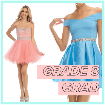 Grade 8 graduation collection consists of short simple dresses, short and puffy dresses, strapless beaded dresses, and plus size grade 8 grad dresses