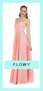 Our flowy prom dress collection consists of strapless simple flowy dresses, high neck empire waist flowy dresses, short flowy dresses and so much more!