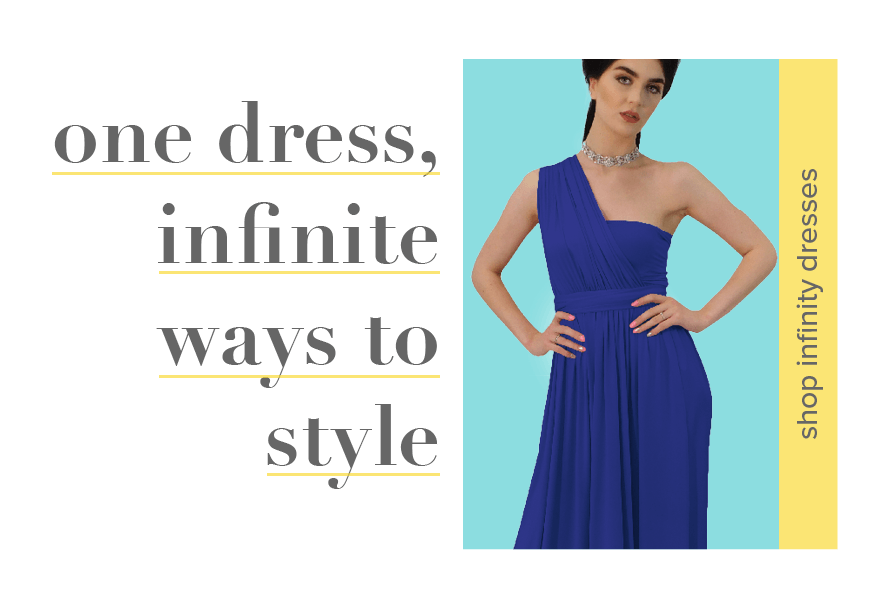 Shop for infinity dresses. One dress worn different many ways. Also known as a multiway dress,  convertible dress, wrap dress.