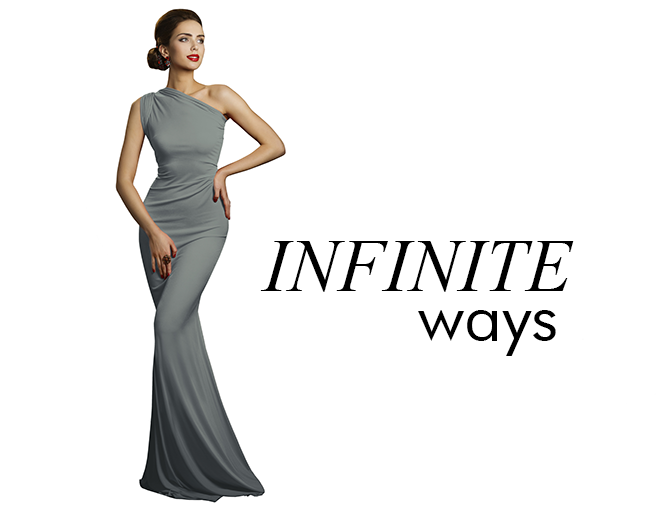 Infinity dresses - one dress worn in different styles. One size fits most from 0 to 16. Also called convertible dresses, multiway dresses. One dress for all your holiday functions