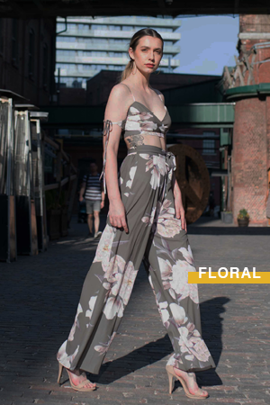 Shop crop tops and pants, matching print set