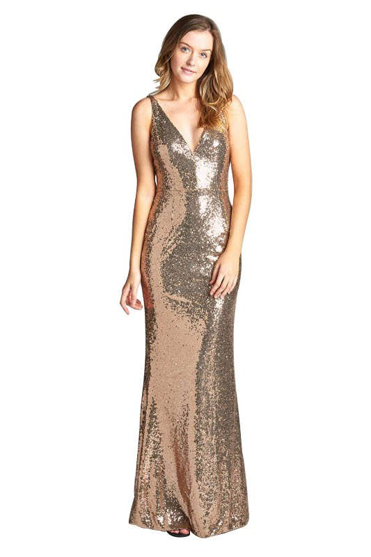 Long sequin gold party dress. Perfect for your next holiday party, formal gala, new years eve dress, or christmas party!