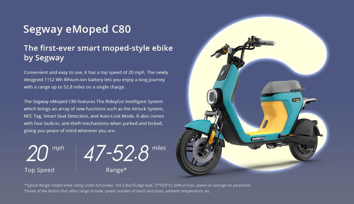 Segway ebike moped electric c80 speed range and rider weight