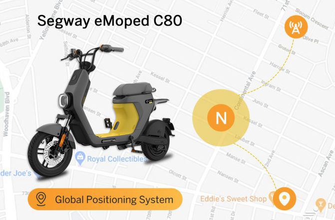 Segway Ninebot Electric ebike moped c80 smart seated scooter throttle Anti theft safety system