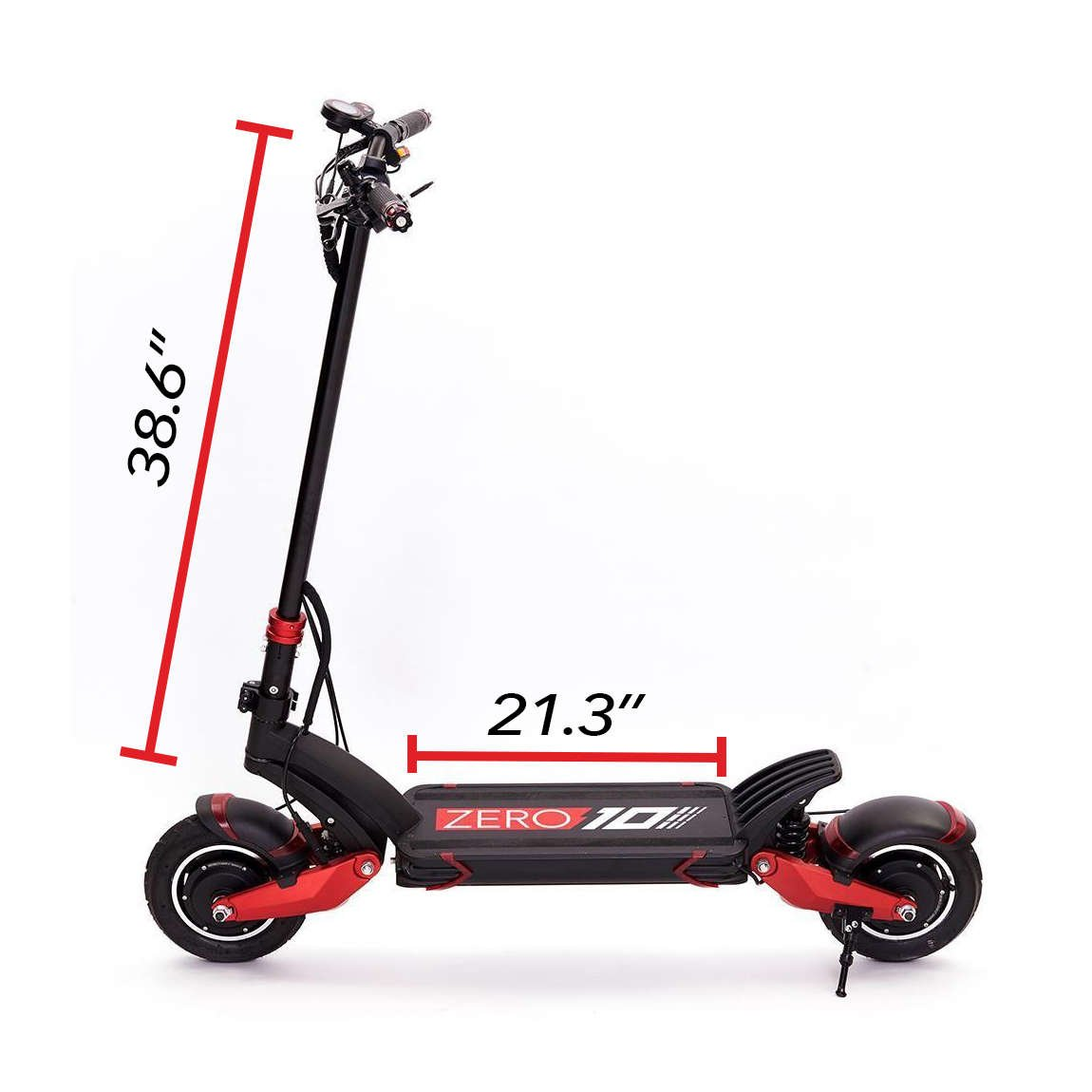 zero 10x electric scooter handlebar height 38.6 in