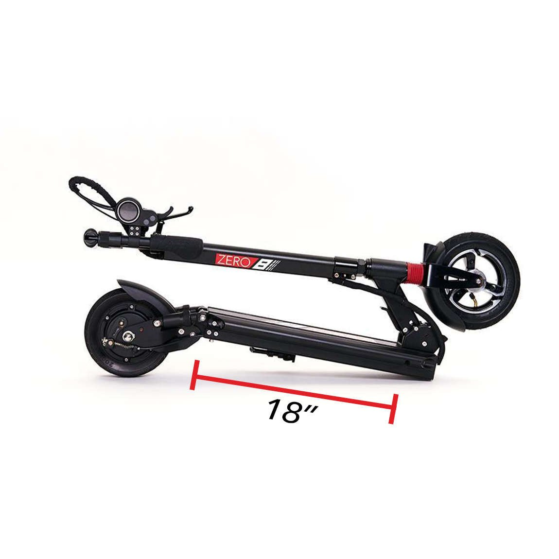 zero 8 electric scooter folded deck length 18 in