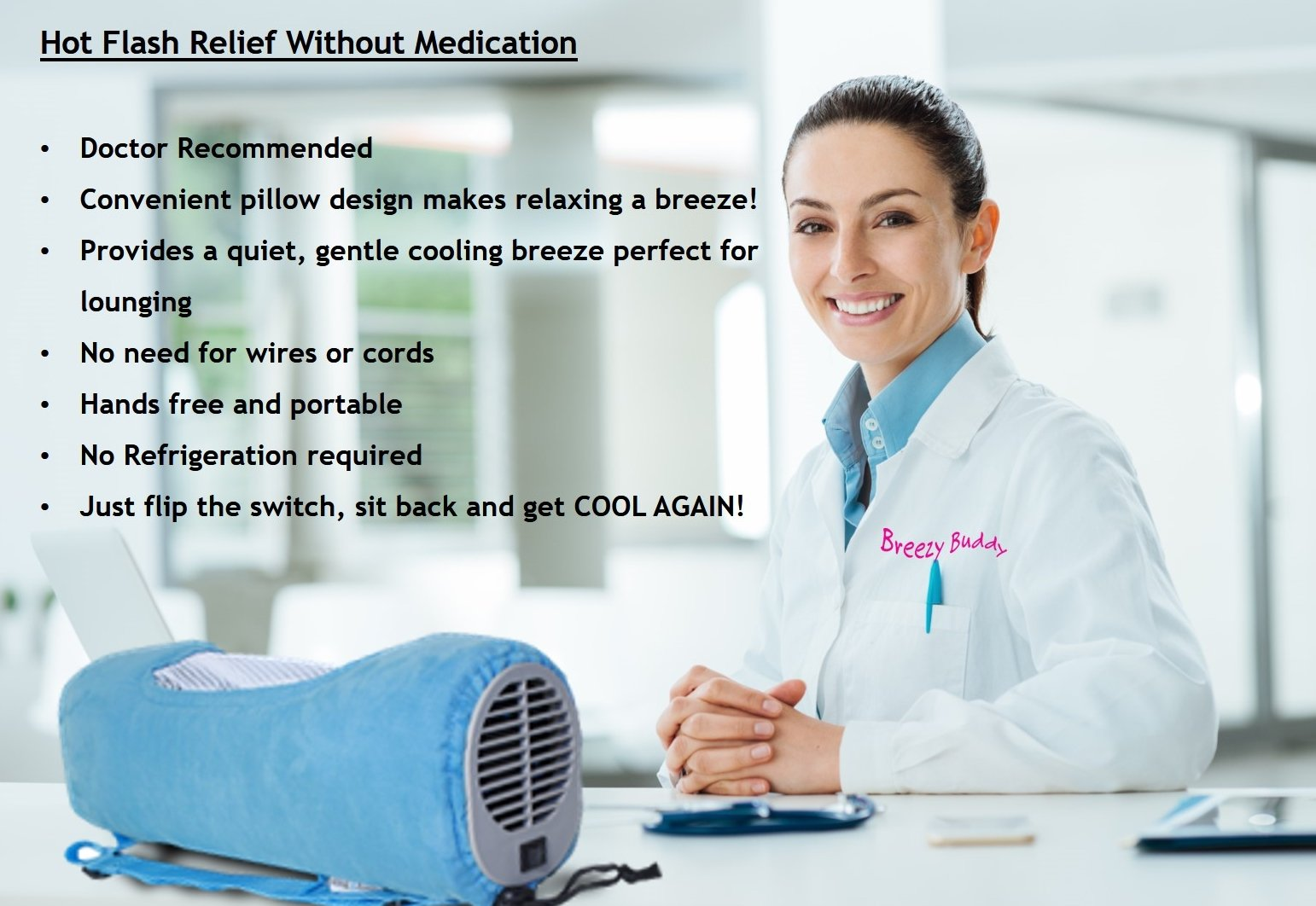 cooling pillow for hot flash relief without medication