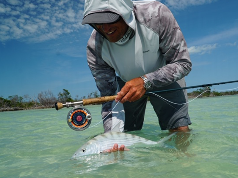 Seigler Fly reels own Scott Owens in ST. SIMMONS SAVANNAH FISHING GUIDE FLORIDA KEYS IN SEASON