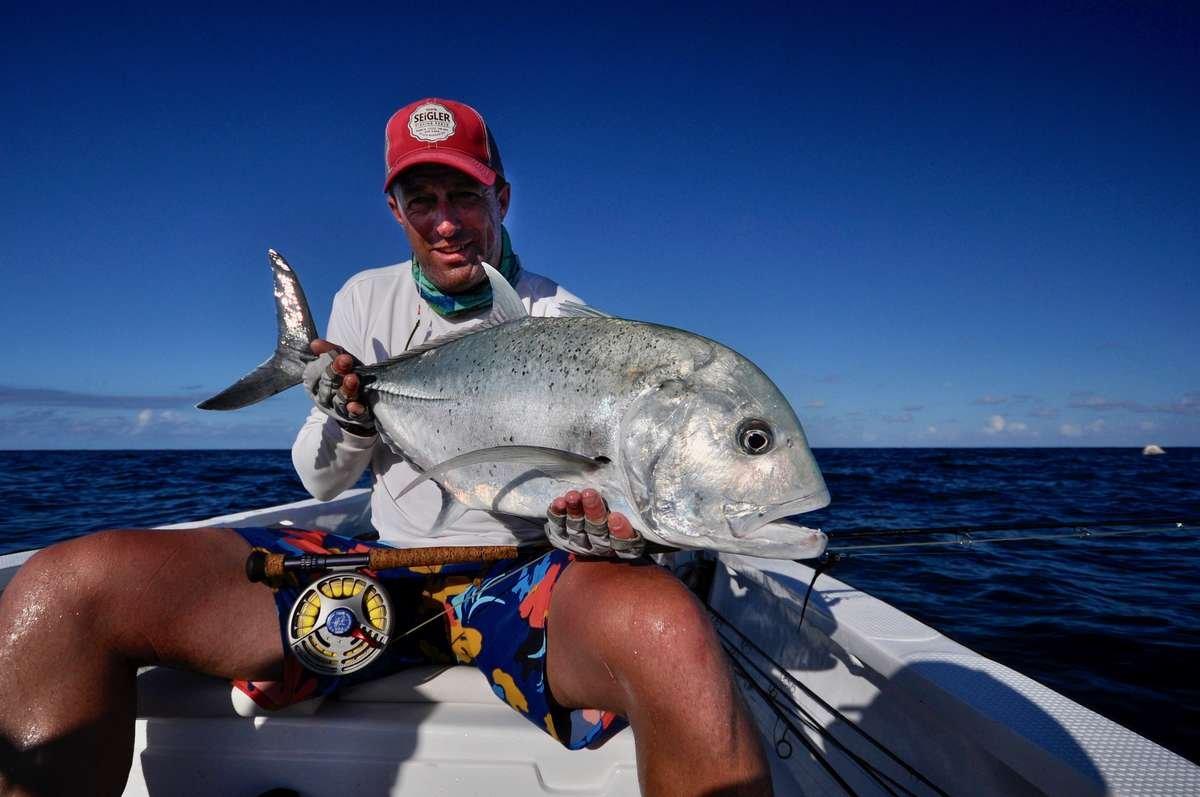 Wes Seigler owner of Seigler Fishing reels. Wes Seigler designs all the Seigler fishing reels. Wes Seigler fly fishing in the Seychelles