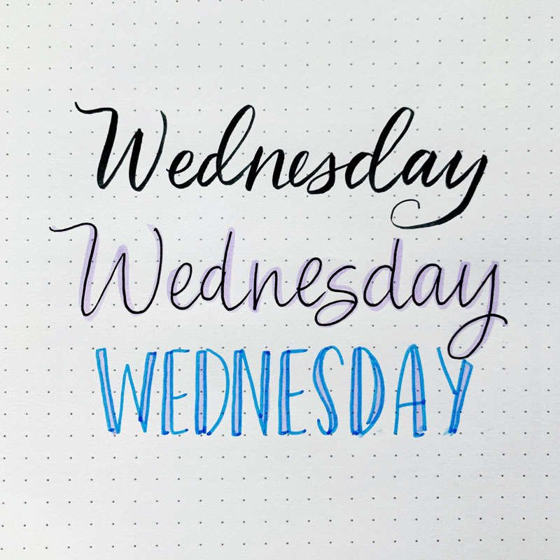 the word Wednesday written in three different font styles