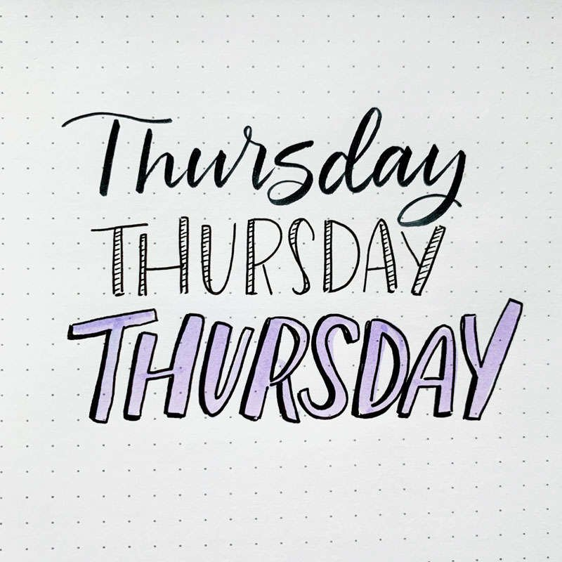 the word Thursday written in three different font styles