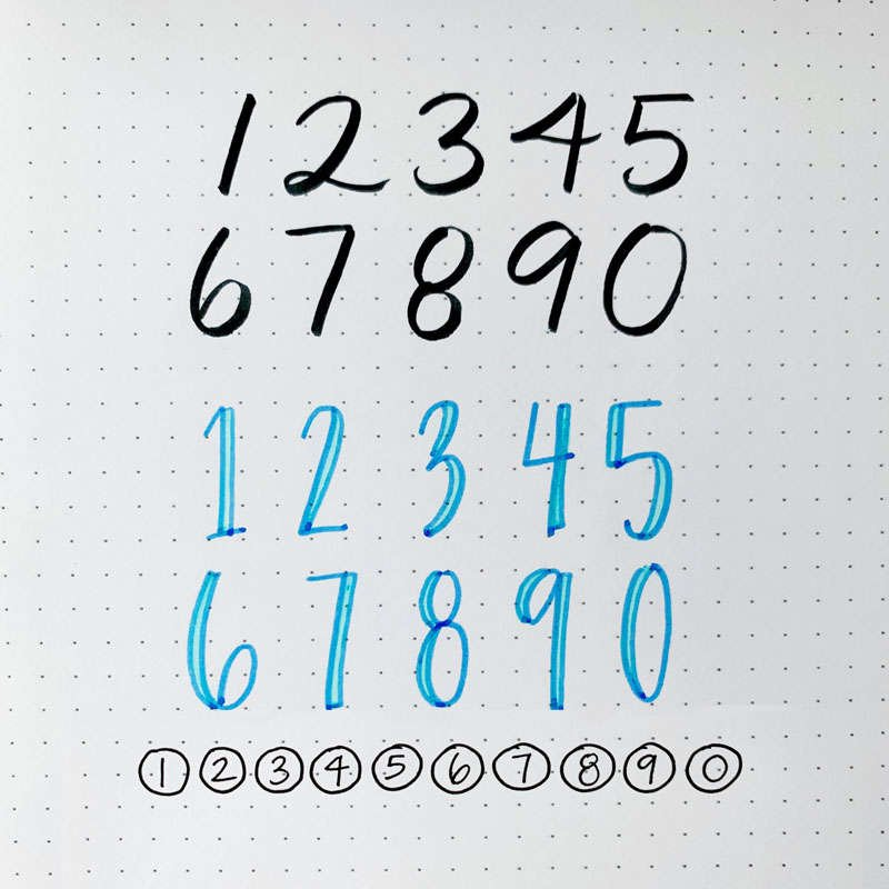 the numbers zero through 9 written in three different font styles