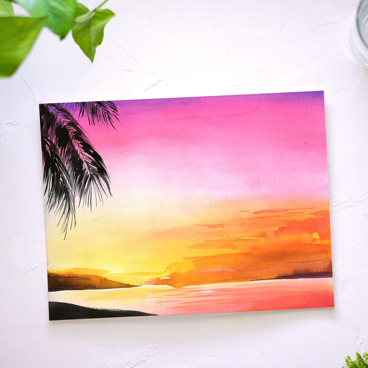 Tropical Sunset Watercolor Tutorial