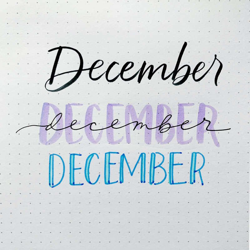 the word December written in three different font styles