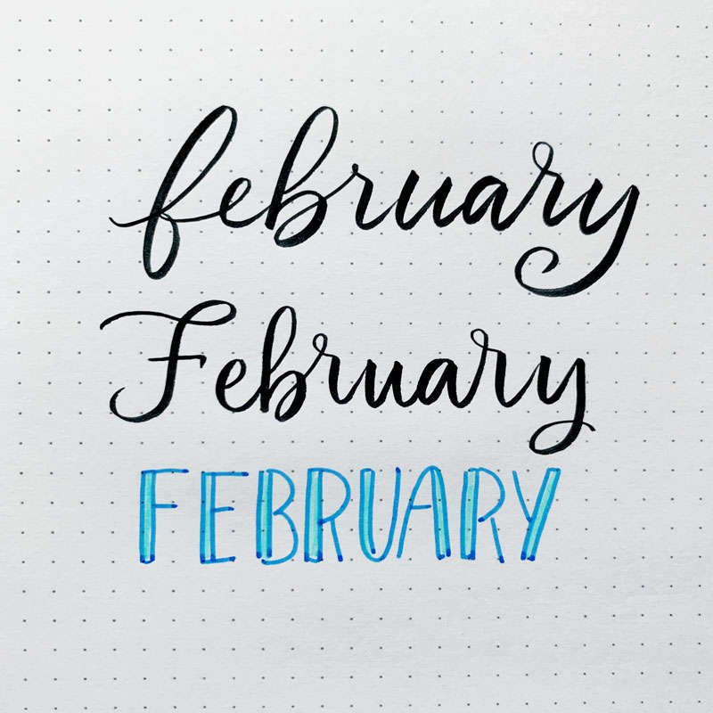 the word February written in three different font styles