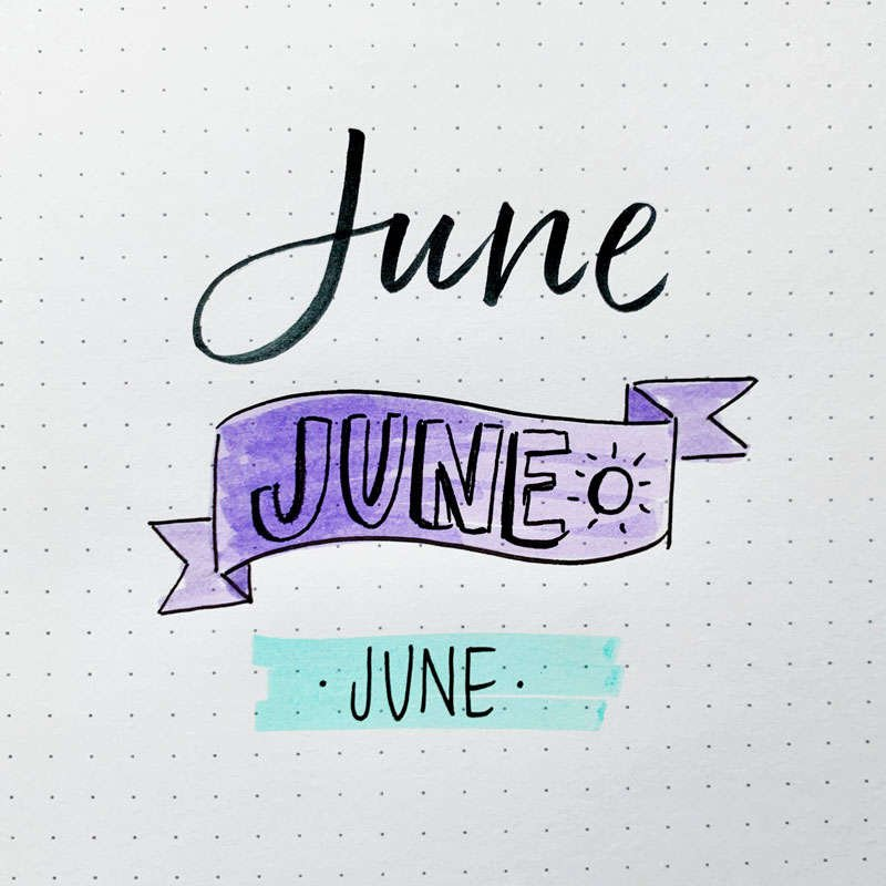 the word June written in three different font styles