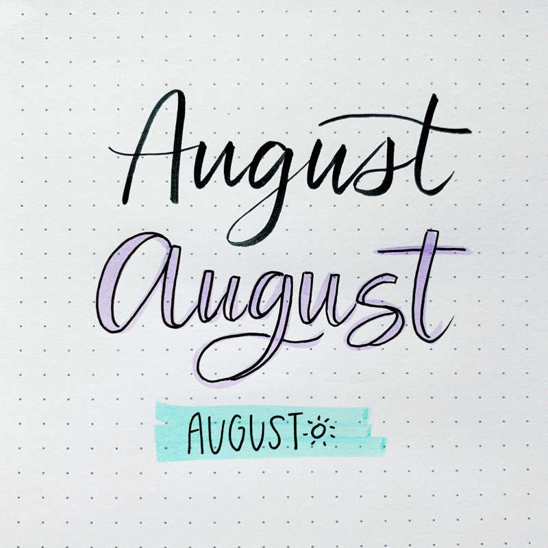 the word August written in three different font styles