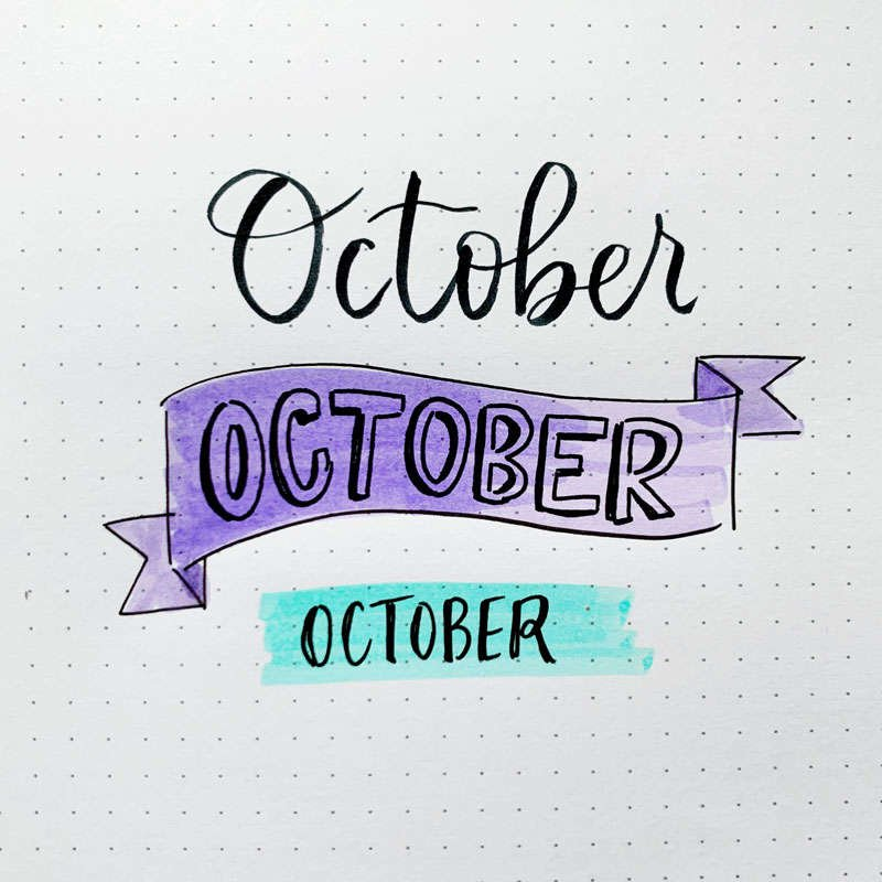 the word October written in three different font styles