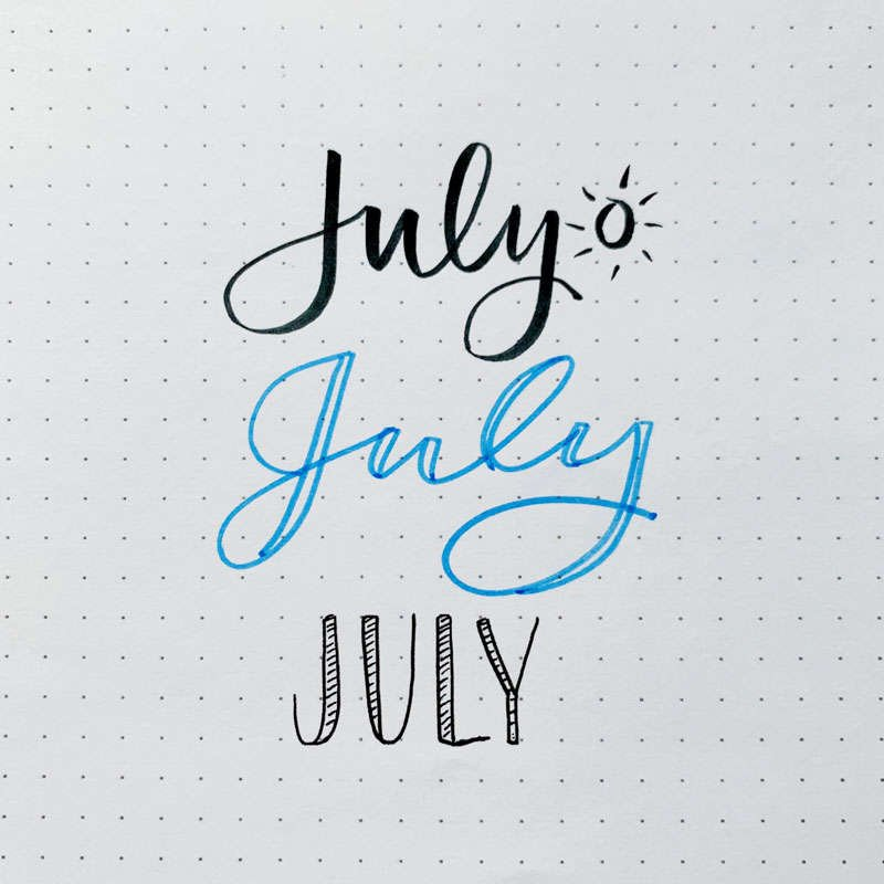 the word July written in three different font styles