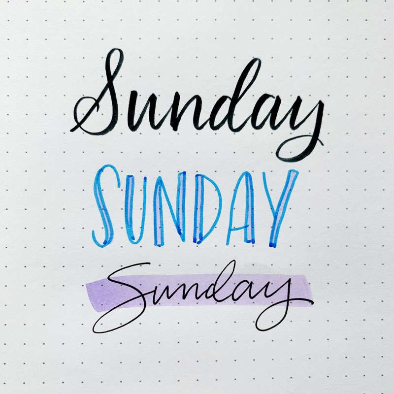 the word Sunday written in three different font styles
