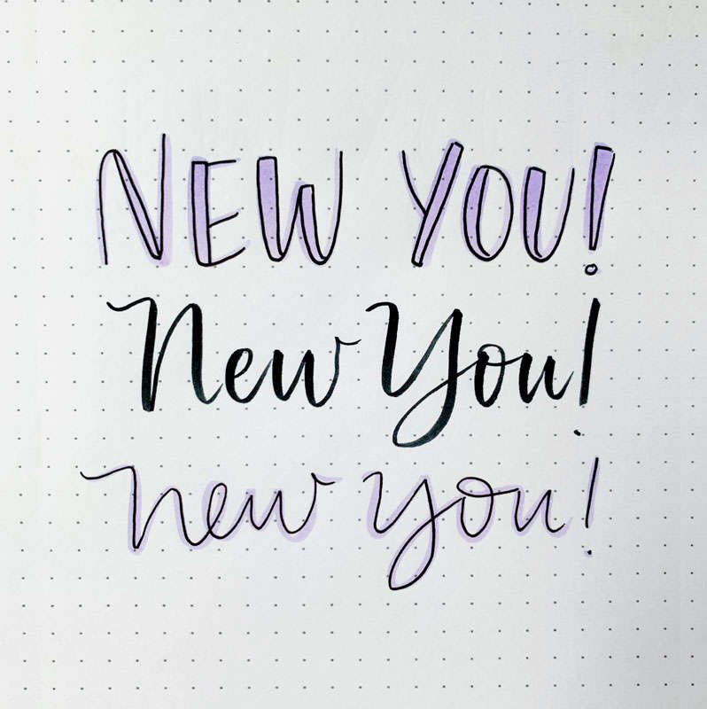 the words new you written in three different font styles