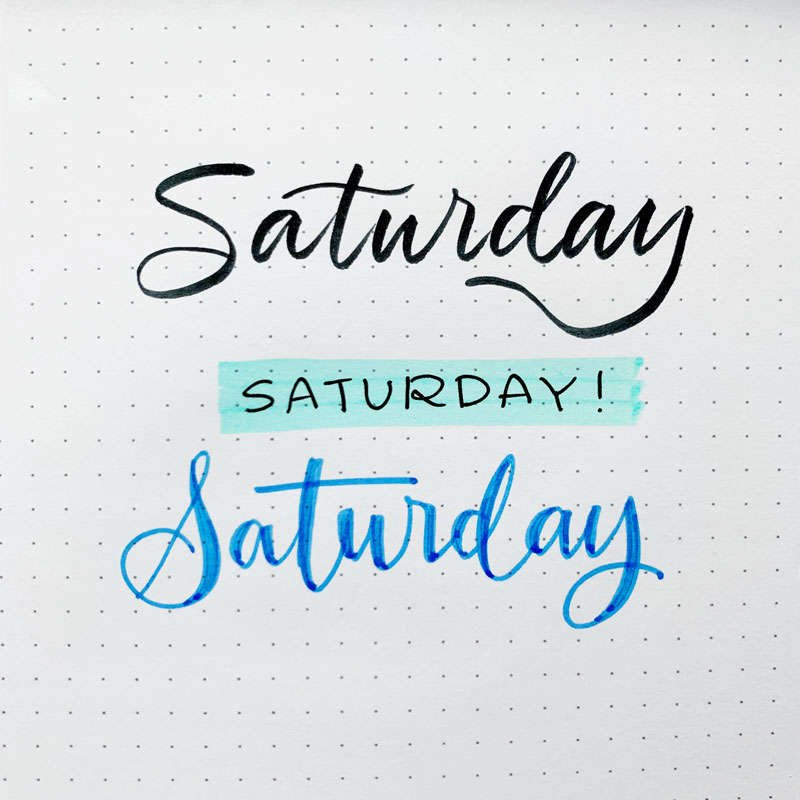 the word Saturday written in three different font styles