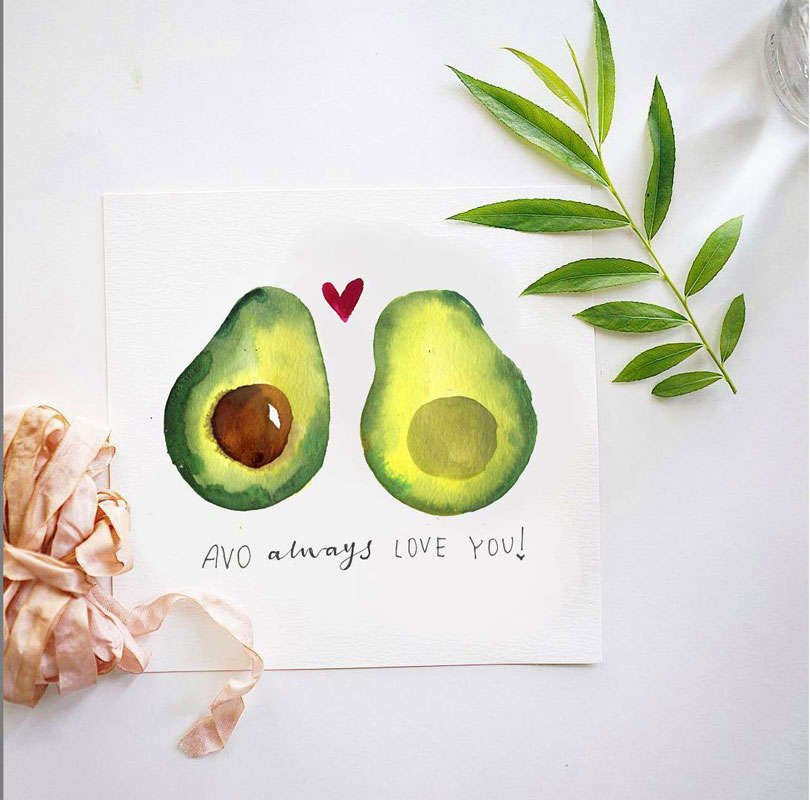 "watercolor painting of an avocado cut in half that says ""Avo always love you"""