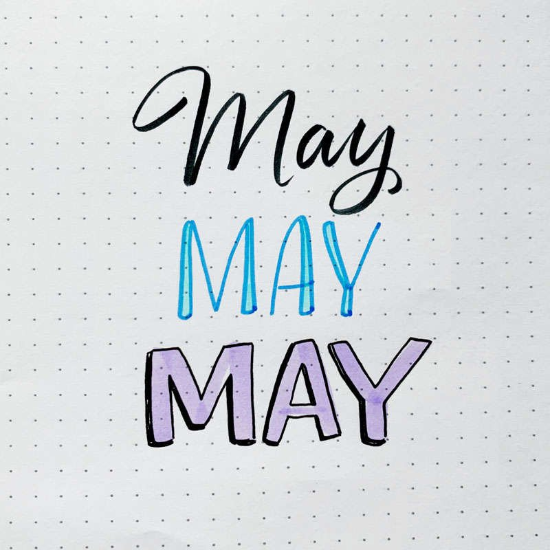 the word May written in three different font styles
