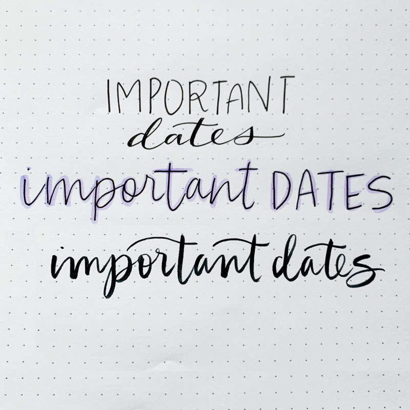 the words important dates written in three different font styles