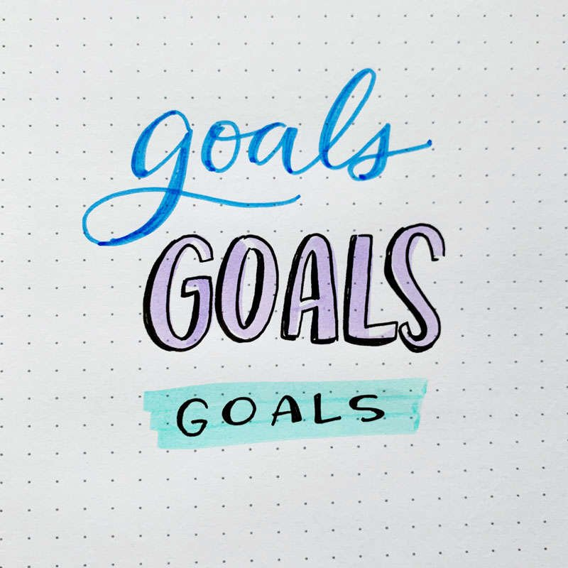 the word goals written in three different font styles