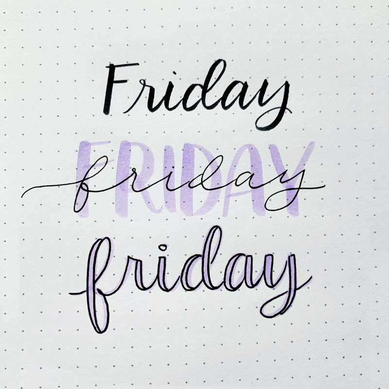 the word Friday written in three different font styles