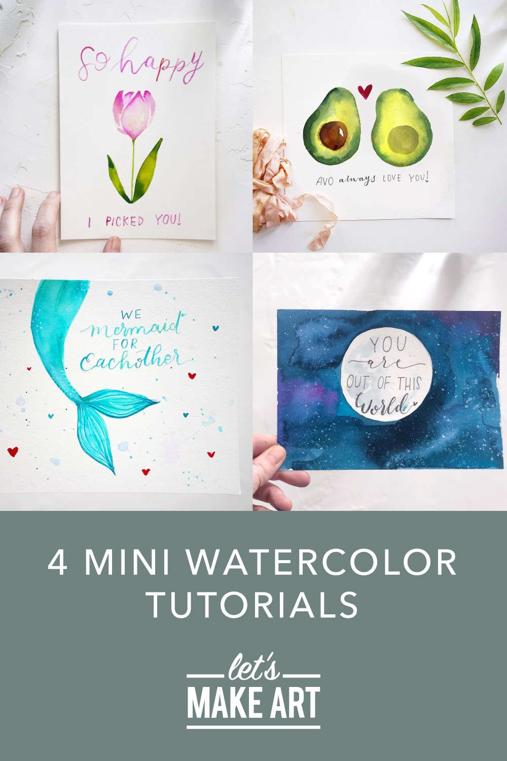 image of four mini watercolor tutorials featuring a mermaid tail, tulip, night sky with moon, and avocado