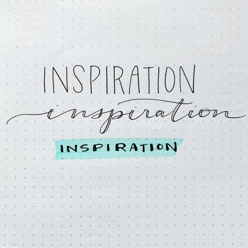 the word inspiration written in three different font styles