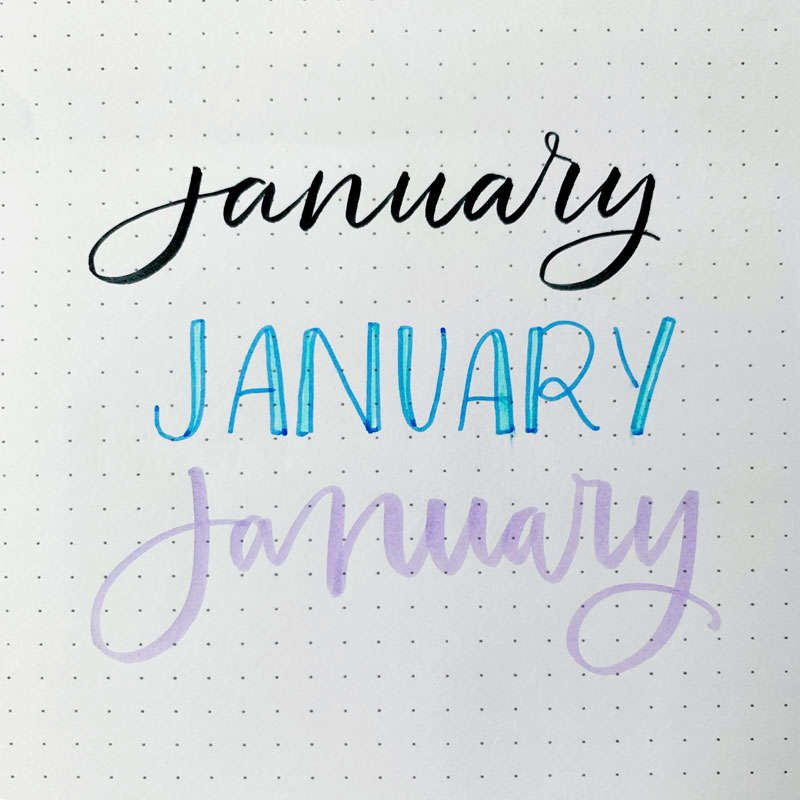 the word January written in three different font styles