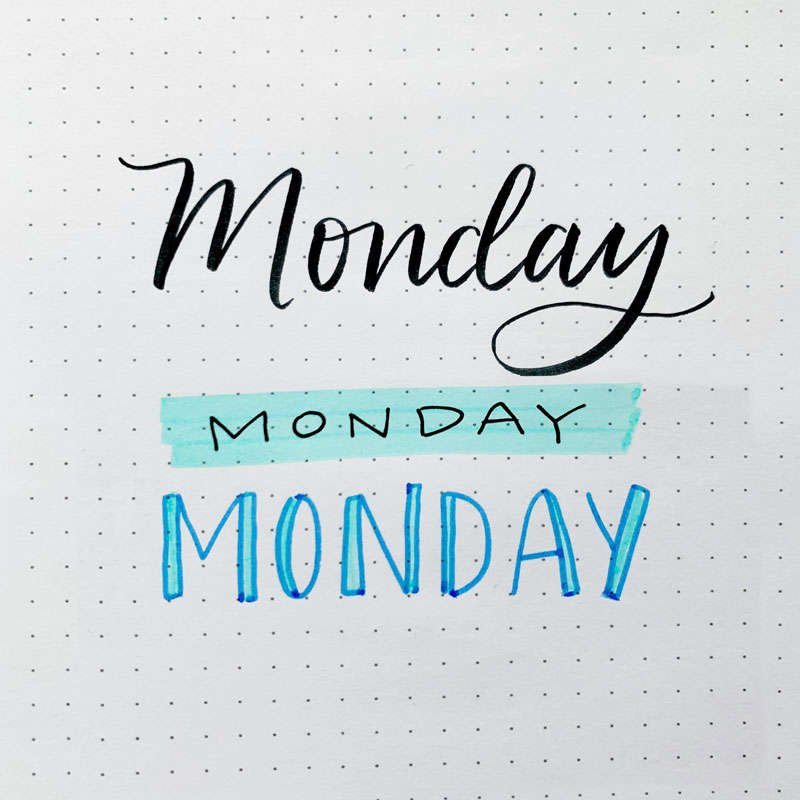 the word Monday written in three different font styles