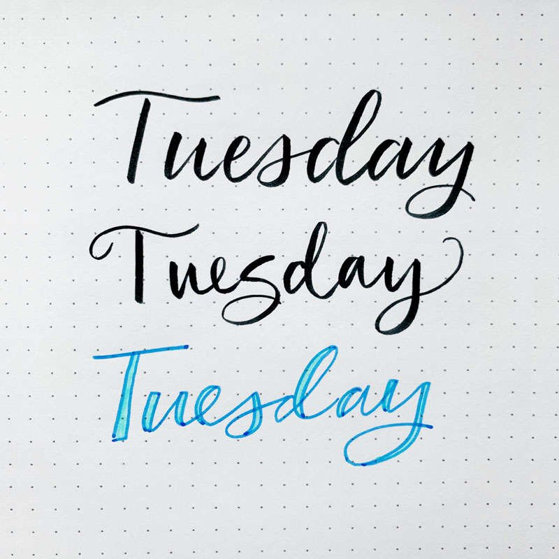the word Tuesday written in three different font styles