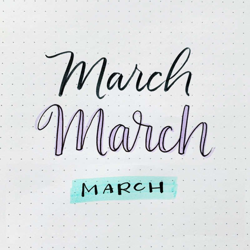 the word March written in three different font styles