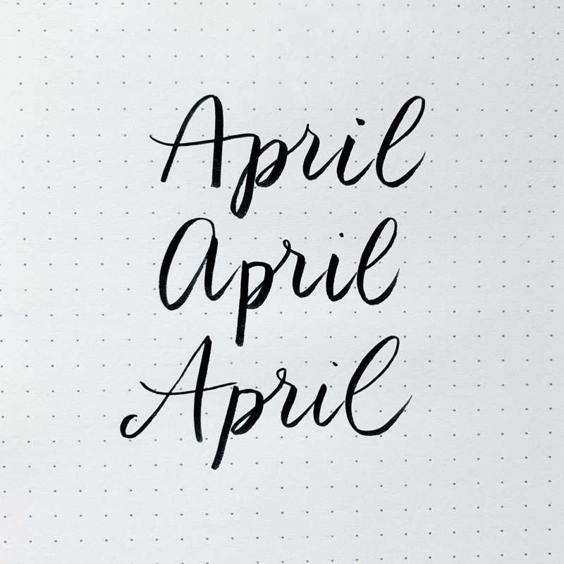 the word April written in three different font styles
