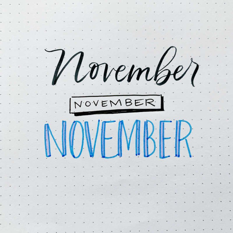 the word November written in three different font styles