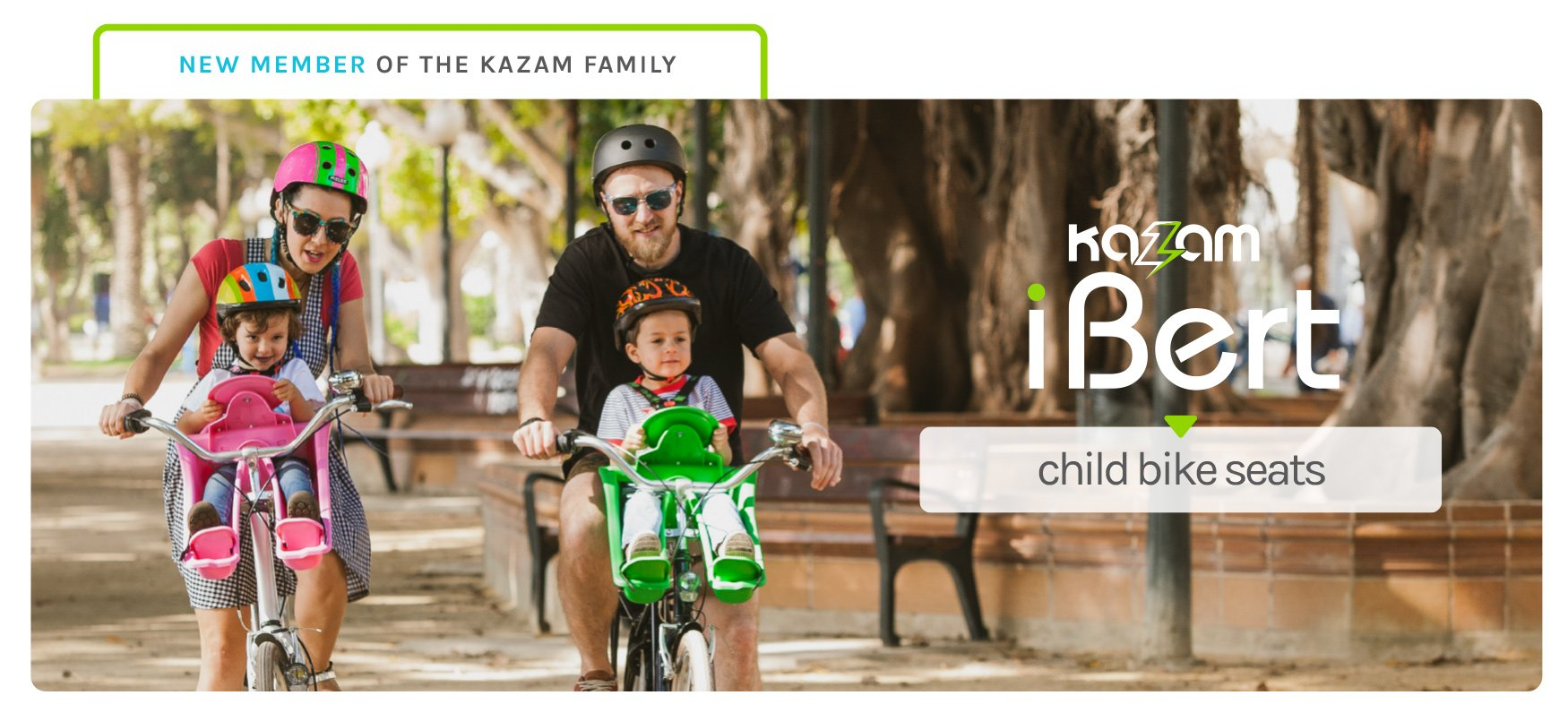 New Member of the Kazam Family - iBert by Kazam - Child Bike Seats - Young couple with their small children biking with Pink and Green Ibert Safe-T-Seats