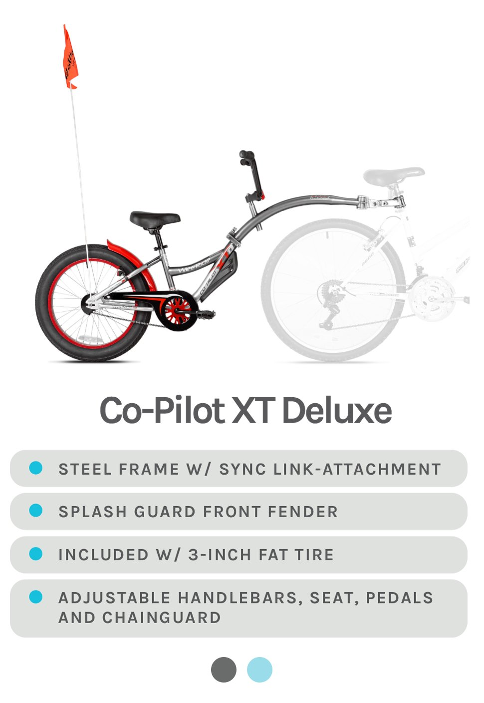 Co-Pilot XT Deluxe (w/ orange safety flag) - Grey with Red Accents - Steel Frame w/ Sync Link-Attachment, Splash Guard Front Fender, Included w/ 3-inch fat tire, and adjustable handlebars, seat, pedals, and chainguard - Available in Grey and Light Blue
