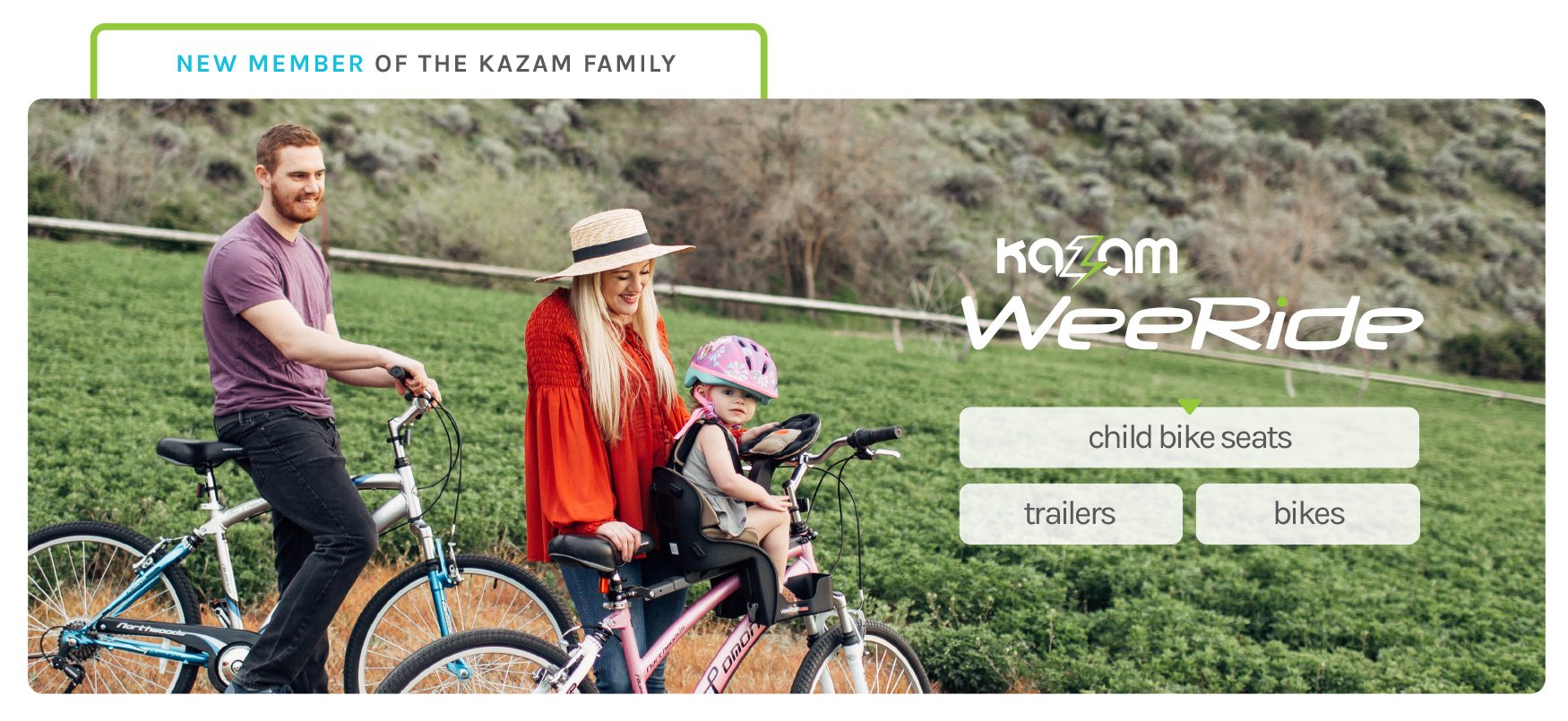 New Member of the Kazam Family - WeeRide by Kazam - Child Bike Seats, Trailers, and Bikes