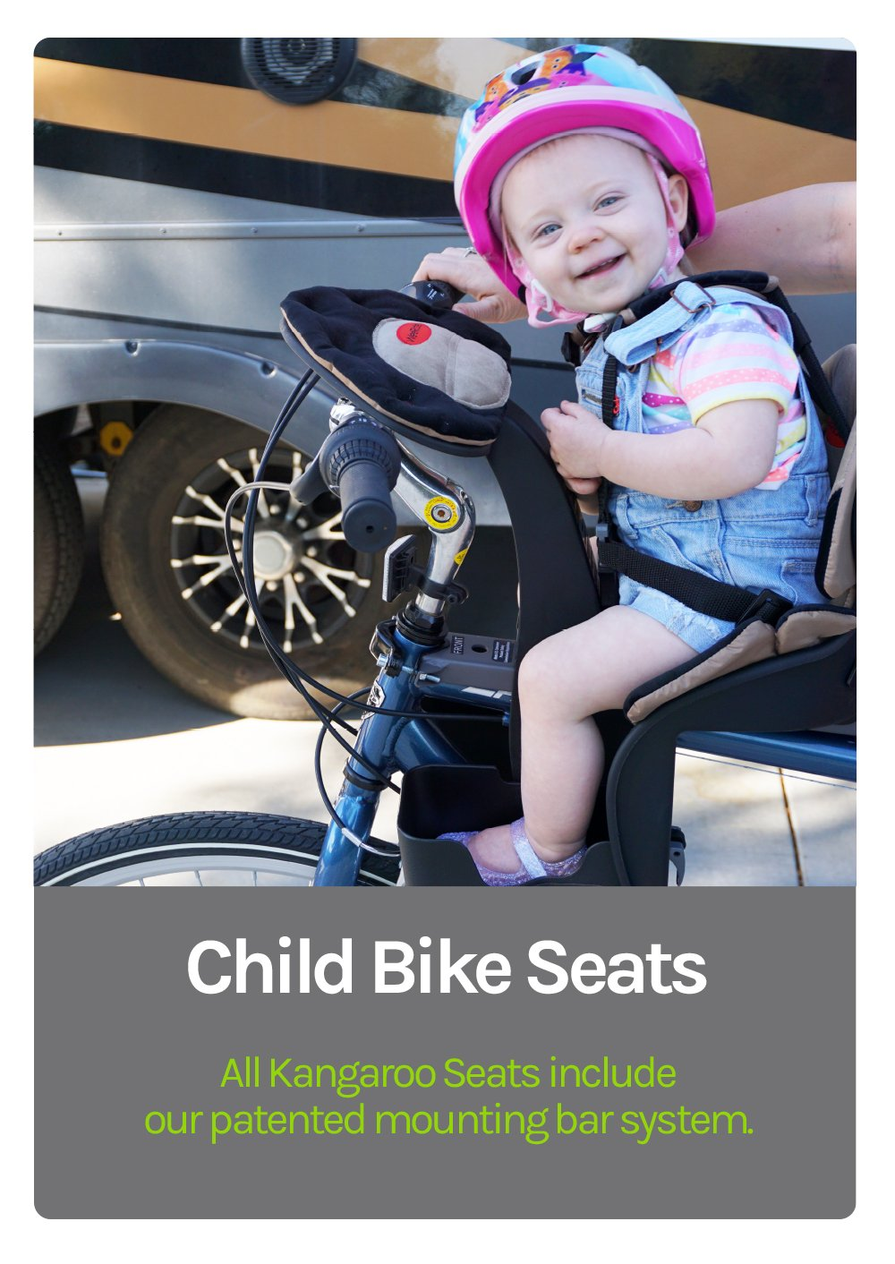 Child Bike Seats - All Kangaroo Seats include our patented mounting bar system. Little girl smiling big on her Brown Kangaroo Seat