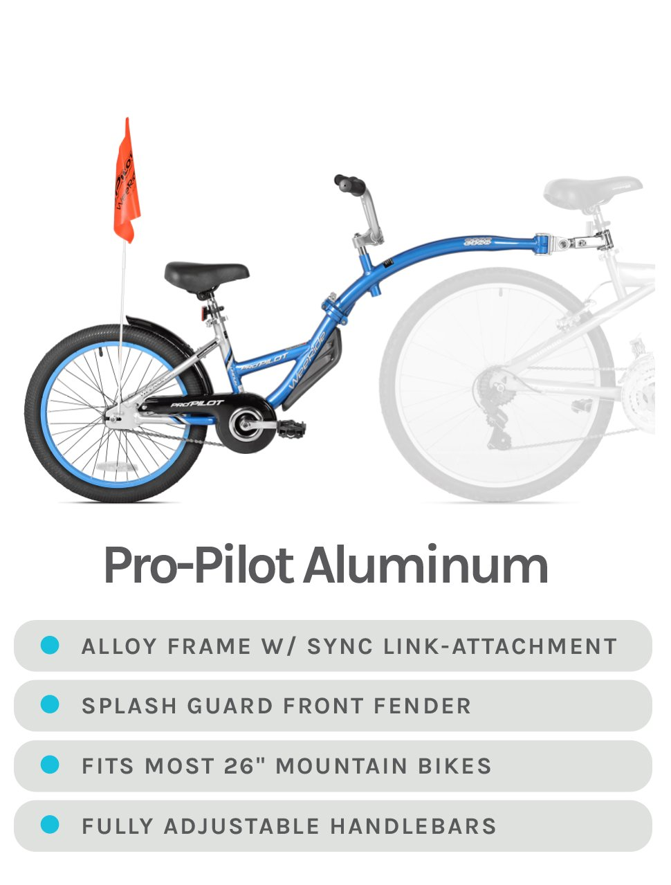 "Pro-Pilot Aluminum (w/ orange safety flag) - Cobalt Blue - Alloy Frame w/ Sync Link-Attachment, Splash Guard Front Fender, Fits most 26"" Mountain Bikes, and Fully Adjustable Handlebars"