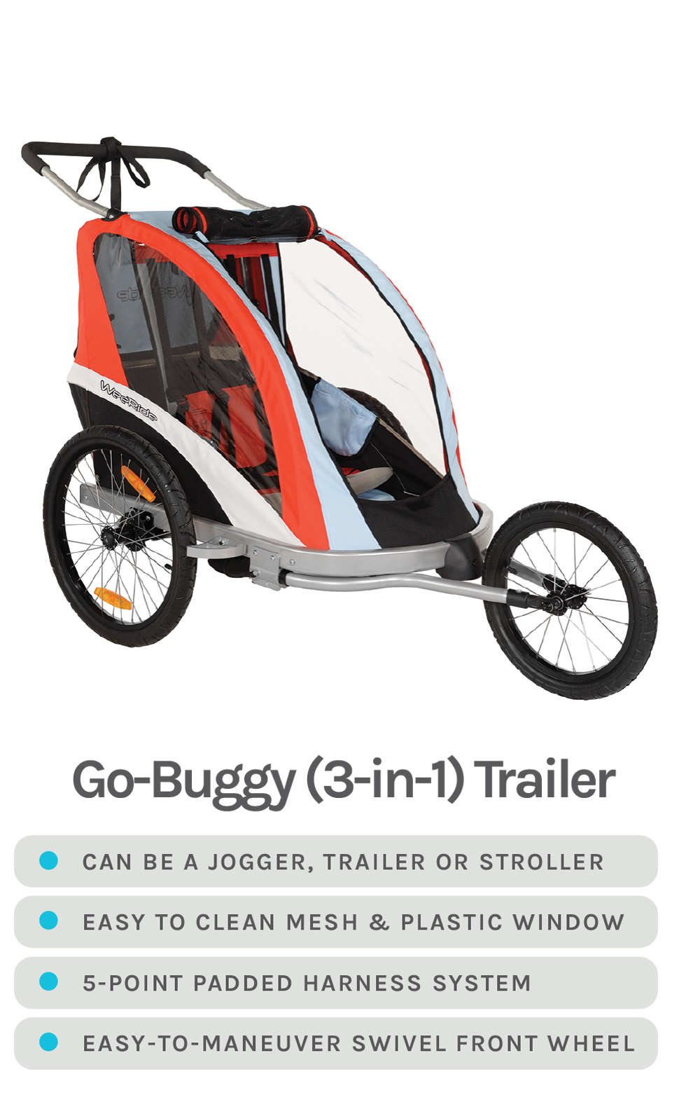 Go-Buggy (3-in-1) Trailer - Can be a Jogger, Trailer, or Stroller, Easy to Clean Mesh & Plastic Window, 5-Point Padded Harness System, Easy-to-Maneuver Swivel Front Wheel - Red, Black and Grey Plastic Casing