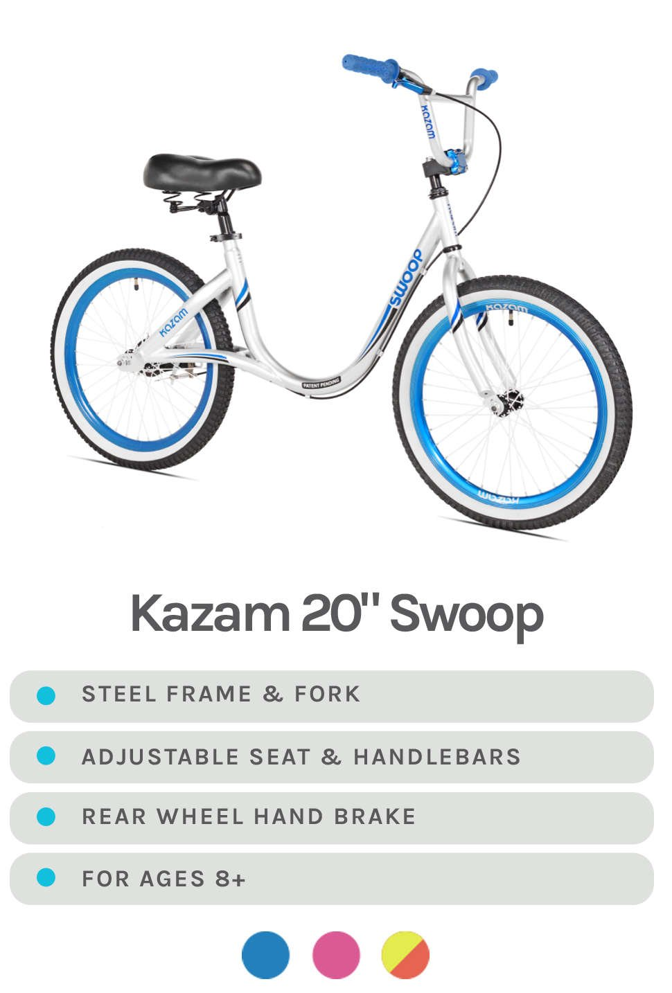 White & Blue Swoop Featured - Specs - Steel Frame & Fork, Adjustable Seat & Handlebars, Rear Wheel Hand Brake, For Ages 8+ - Available in White & Blue, White & Pink, or Yellow and Orange